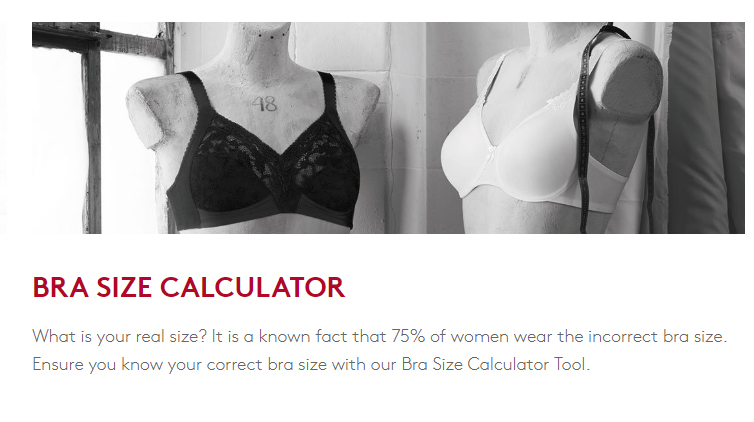 TRIUMPH BRAS bra size calculator